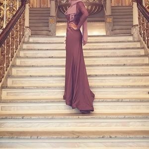 Long sleeve Mauve bridesmaid gown with tail
